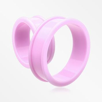 A Pair Of Supersize Soft Pastel Silicone Double Flared Tunnel Plug
