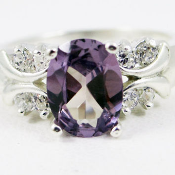Oval Alexandrite and White CZ Ring, 925 Sterling Silver, June Birthstone Ring, Color Change Alexandrite gemstone, Engagement Ring