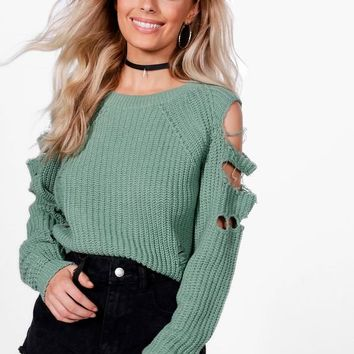 Alexandra Distressed Cold Shoulder Crop Jumper | Boohoo
