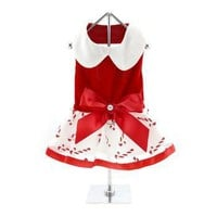 Holiday Dog Harness Dress - Candy Canes