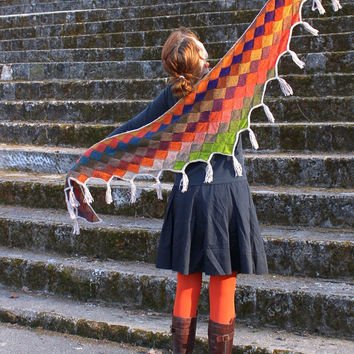Multicolor entrelac shawl with tassels, bright colors, orange, purple, pure wool, hand knitted, ready to ship
