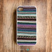 Neon Stripe Unique iPhone Case, iPhone 4 Case, Accessories Cell Phone Aztec Tribal Case iPhone 4 Cover Case, Cases By Csera Case