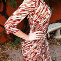 Vintage 1970s Style Dress with Geometric Red Brown Tan by SewRed