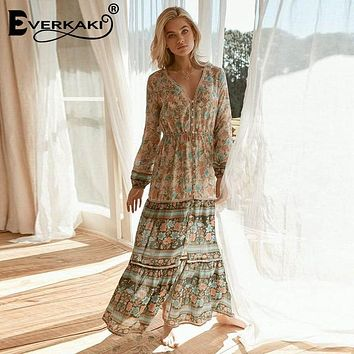 Gypsy Floral Print Long Sleeve High Waist Long Maxi Dress