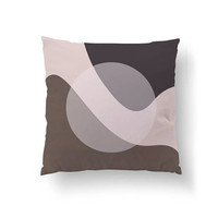 Textured Pastel Decor, Circle Pillow, Brown Gray White, Decorative Pillow, Cushion Cover, Simple Art, Home Decor, Throw Pillow, Abstract Art