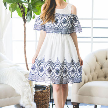 Skye White and Navy Embroidered Ruffle Dress