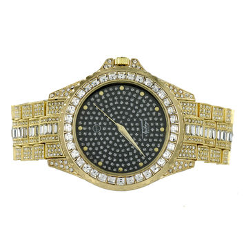 Bling Watch Iced Out Hip Hop Rapper Wear Gold Finish Jojino
