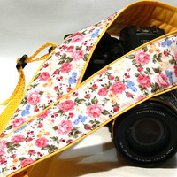 DSLR Camera Strap. Floral Camera Strap. Yellow Camera Strap. Nikon Canon Camera Strap. Women Accessories