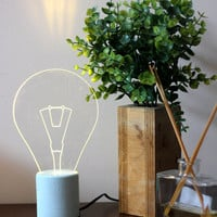 Blue concrete exposed bulb Lamp, Industrial concrete table lamp