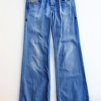 Diesel Vixy Wide Leg Flare Jeans - Button Fly Low Rise 25x32
