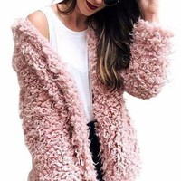 Pink Furry Wool Overcoat
