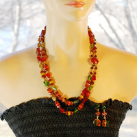 Vintage Jewelry Set, Multi Strand Necklace, Dangle Earrings, Colorful Fall Orange Green Yellow Beads, WESTERN GERMANY, 1960s Mad Men Jewelry