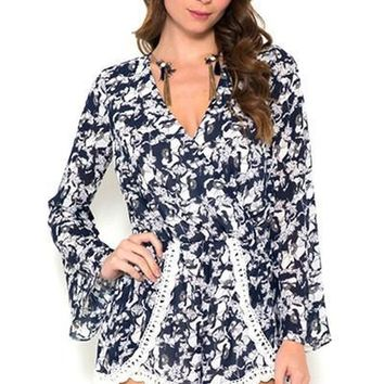 Fool For Love Lace Print Romper