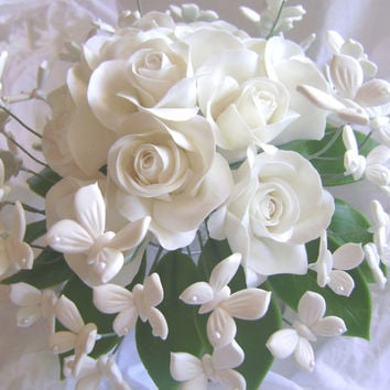 Handmade Clay Wedding Bouquet. Clay White Rose White Butterflies Bridal Bouquet