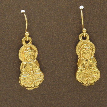 Gold Kuan Yin Earrings, Buddhist Goddess of Mercy and Compassion, Yoga Earrings, Buddhist Earrings, Buddha Jewelry, Chinese Goddess