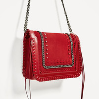 RED LEATHER CROSSBODY BAG DETAILS