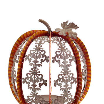 Falling Leaves Collection Pumpkin Scroll Candle Holder (Set of 2)