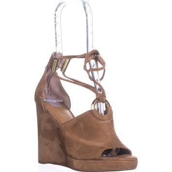 Calvin Klein Ramona T-Strap Wedge Sandals, New Caramel, 8.5 US / 38.5 EU