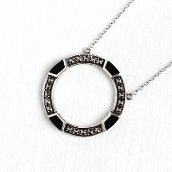 Modern Circle Necklace - Estate Art Deco Style Sterling Silver Brooch Conversion Pendant - 1980s Era Black Onyx Marcasite Revival Jewelry