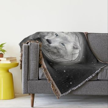 Wolf Moon Throw Blanket