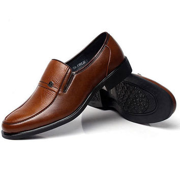 Mens Leather British Style Brown Flat Formal Business Oxford Shoes