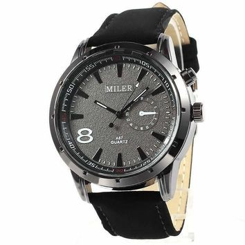 Sueded Leather 8 Watch in Black For Men or Women