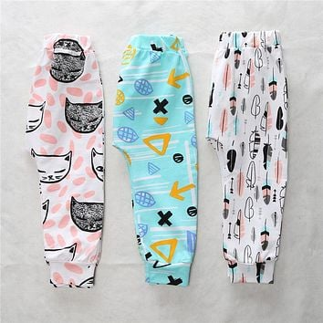 XK-1210 Boys Pants Children Pants Animal Character Geometry Print