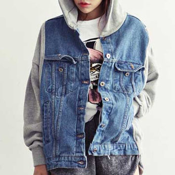 Korean Style Vintage Jeans Jacket Women Denim Hooded Patchwork Loose Jean Baseball Sportwear Jackets = 1930300676