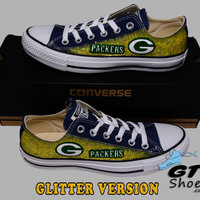 Hand Painted Converse Low. Green Bay Packers. Football. Yellow Glitter. Cheese. Superbowl. Handpainted Shoes. V3