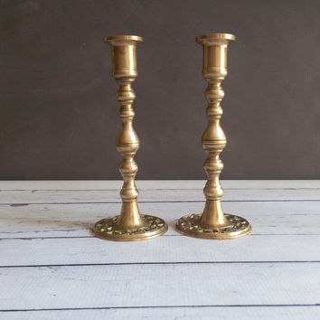 Etched Brass Candlesticks/ Ornate Brass Candlesticks/ Vintage Brass Candlesticks/ Taper Candlesticks/ Hollywood Regency Brass Candle Holders