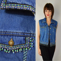 90s Beaded Denim Vest Fringe Hippie Boho Gypsy Soft Grunge MEDIUM Vintage Womens Clothing Ribbon Embroidery Southwestern Blue Jean Vest