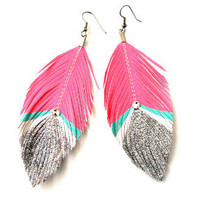 Bowie Pink and Silver Glitter Feather Earrings