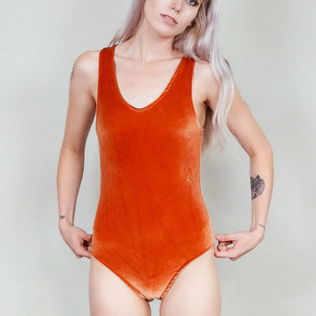 Lovespell - Copper velvet bodysuit with high cut legs - rust burnt orange
