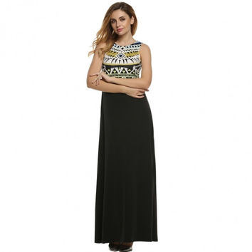 Elegant Vintage Style Women Lady Sleeveless High Waist Maxi Long Dress Casual Party Evening Full Gown