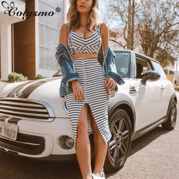 Colysmo Winter Sexy Two Piece Set Mini Top Long Skirt Set 2 Piece Set Women Outfits Ladies Matching Sets Club Wear