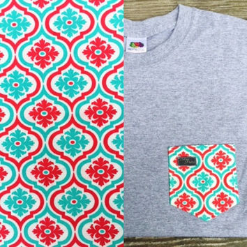 Sky Blue and Coral Swivel Damask Patterned Pocket Tee