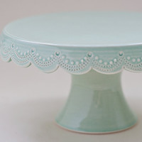 Small Cake Stand  7 inch   Green Scallop by vesselsandwares