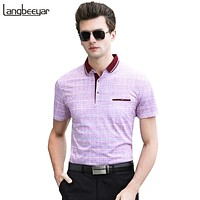 Polo Shirt Men Plaid Mens Polo Men Designer With Short Sleeve Business Style Summer Men Clothes