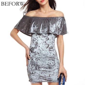 BEFORW Women Velvet Dress Summer Party Dresses Black Gray Lotus Leaf Collar Fashion Mini Sexy Dress Elegant Red Sexy Dresses