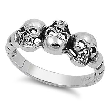 925 Sterling Silver Three Musketeers Skull 9MM Ring