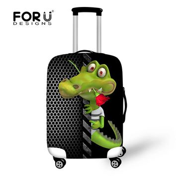 FORUDESIGNS Zoo Animal Alligator Luggage Protective Covers Elastic Dust Travel Luggage Cover for 18-30 Inch Suitcase Thick Cover