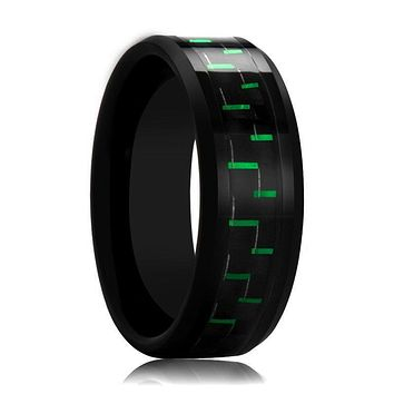 Black Tungsten Ring with Green Carbon Fiber Inlay