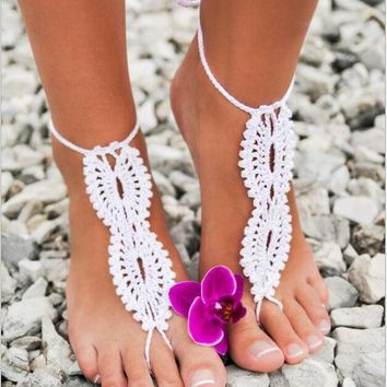 PEAPUNT 1Pair  Hot Beach wedding Crochet wedding Barefoot Sandals Hollow Nude shoes Foot Lace Anklet Free Shipping 4 Color Free Shipping