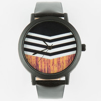 Chevron Wood Print Watch Black One Size For Men 25190110001