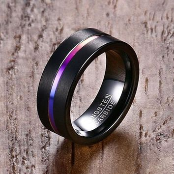 Mprainbow Fashion Black Tungsten Carbide Rainbow Anodized Groove Center Ring for Men Wedding Engagement Band Male Jewelry