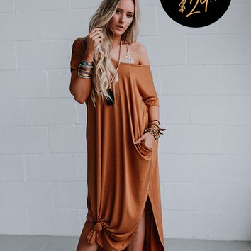 The Sweet Escape OOTW Dress and Necklace Set - Coffee