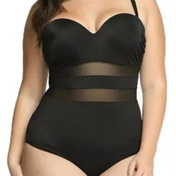 Chicloth Splice Push Up One Piece Swimsuit Large Size Mesh
