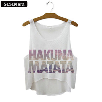 "SexeMara 2017 New ""Hakuna Matata"" Letters Short Crop Tops Women Sexy Tank Top Femme Summer Vest Sleeveless  Cropped Top F1037"