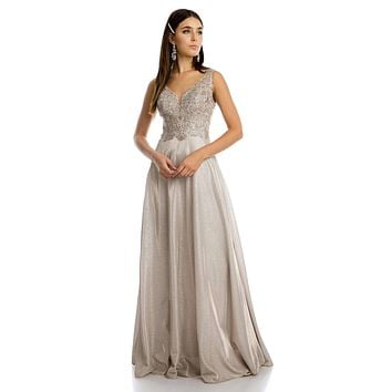 V-Neck Metallic Long Prom Dress with Appliques Mocha