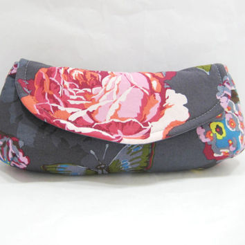 Rose Print Clutch, Blue and Pink Floral Clutch, Flowers and Butterflies, Ready to Ship